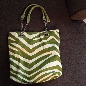 Green and cream tote bag